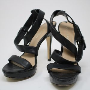Via Spiga High Heels Open Toe Leather Blk Size 6M